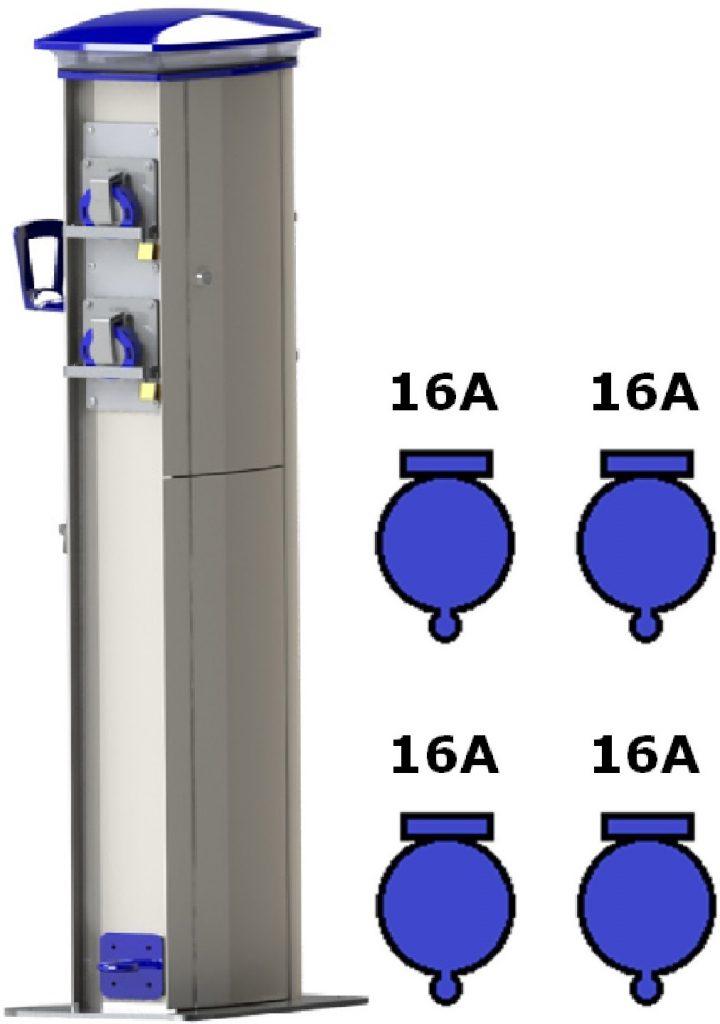 Wimpel Omega 4x16A ut, 230V inn, ekstremsøyle