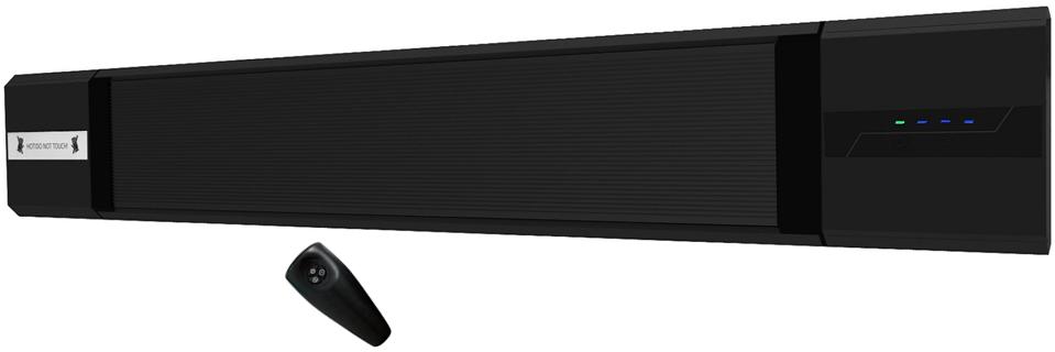 Wimpel BlackHot 1800W sort IP55 med integrert regulator
