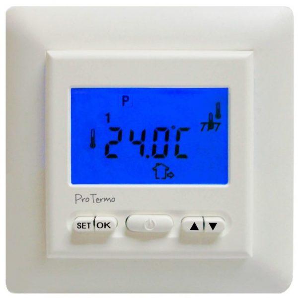 Termostat med display, dag/natt- og ukeprogram