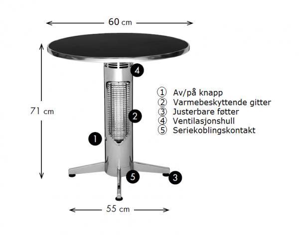 Wimpel Proff Kafébord 400W sort IP44 med rund bordplate
