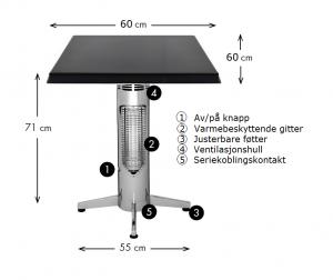 Wimpel Proff Kafébord 400W sort IP44 med firkantet bordplate
