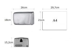 Wimpel Mini Smart 1250W IPX1 krom horisontal