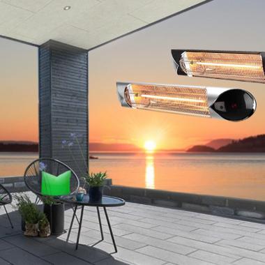 Terrassevarmer - Wimpel HotSun - sjøbilde med grønne puter