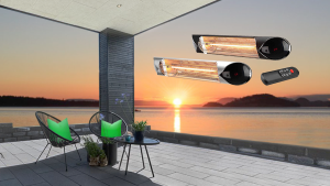 Wimpel HotSun 1500W sort IP55 med integrert dimmer