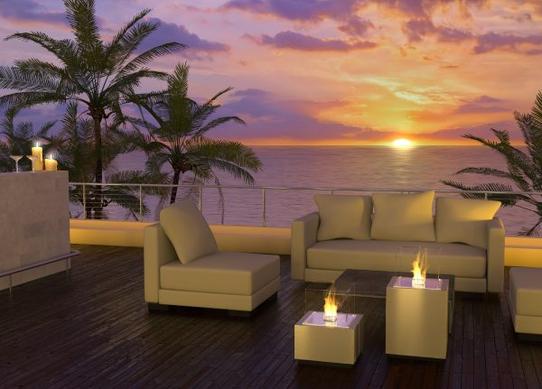 Decoflame Monaco Square Lounge gulvmodell børstet stål